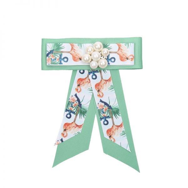 Choker Bow Tie Flamingo Pearls licht groen groene kraagjes hemd details dames dassen stropdassen groen parels print musthave fashion kopen