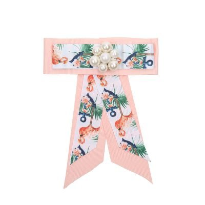 Choker Bow Tie Flamingo Pearls roze pink broche kraagjes hemd details dames dassen stropdassen groen parels print musthave fashion kopen