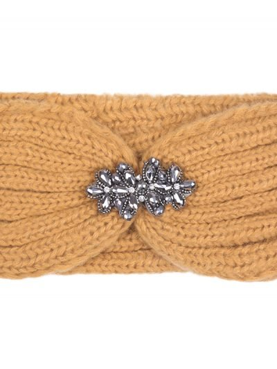 Haarband-Winter-Diamonds-bruin oranje cognac -wollen-dames-haarbanden-diamanten broche detail-glitter-musthave-fashion-dames-haar-accessoires-online-kopen