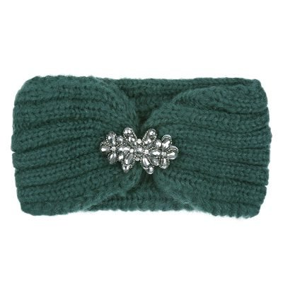 Haarband-Winter-Diamonds-groen groene -wollen-dames-haarbanden-diamanten broche detail-glitter-musthave-fashion-dames-haar-accessoires-online-kopen