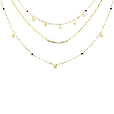 Ketting Famous Star goud gouden layers 3 kettingen sterren en hartjes musthave fashion accessoires kopen bestellen detail