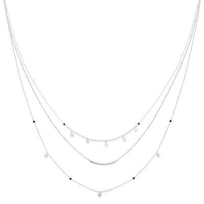 Ketting Famous Star zilver zilveren layers 3 kettingen sterren en hartjes musthave fashion accessoires kopen bestellen detail