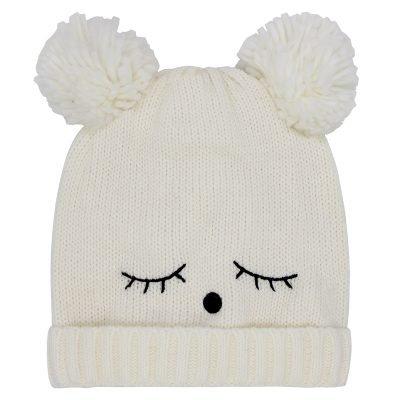Muts-Teddy Bear wit witte wimpers-dames-mutsen-wollen-bolletje-warme-mutsen-beanies-online-bestellen-kopen-600x600