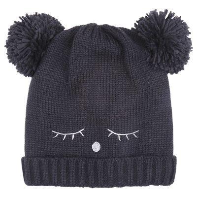 Muts-Teddy Bear zwart-zwarte wimpers-dames-mutsen-wollen-bolletje-warme-mutsen-beanies-online-bestellen-kopen-600x600
