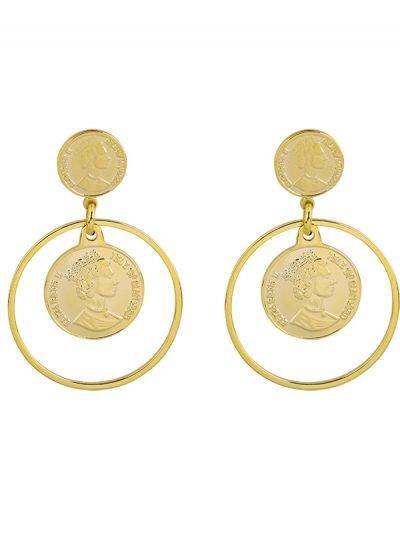 Oorbellen La Reina goud gouden dames oorbel creolen munt fashion earrings musthaves accessoires