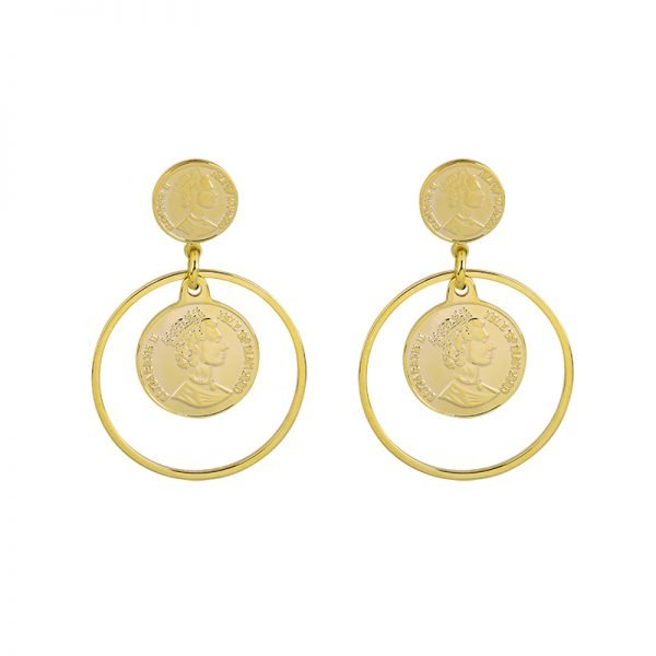 Oorbellen La Reina goud gouden dames oorbel creolen munt fashion earrings musthaves accessoires