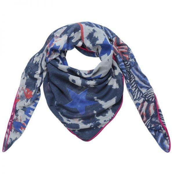 Sjaal Happy Stars blauw blauwe print sjaal neon roze lijn mushtave fashion dames sjaals kopen bestellen printsjaal