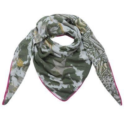 Sjaal Happy Stars groen groene print sjaal neon roze lijn mushtave fashion dames sjaals kopen bestellen printsjaal