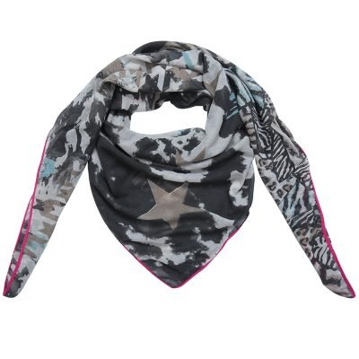 Sjaal Happy Stars zwart zwarte print sjaal neon roze lijn mushtave fashion dames sjaals kopen bestellen printsjaal