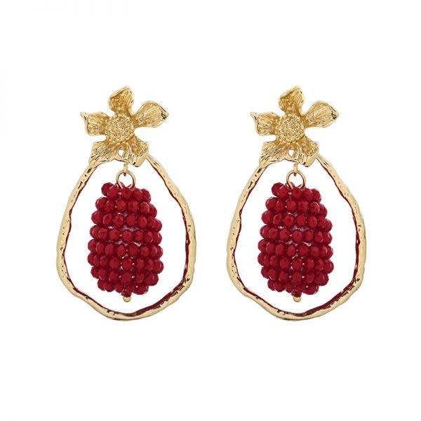 Statement Oorbellen Glam Grapes goud gouden oorbellen rode rood bedel musthave fasion oorbellen online kopen