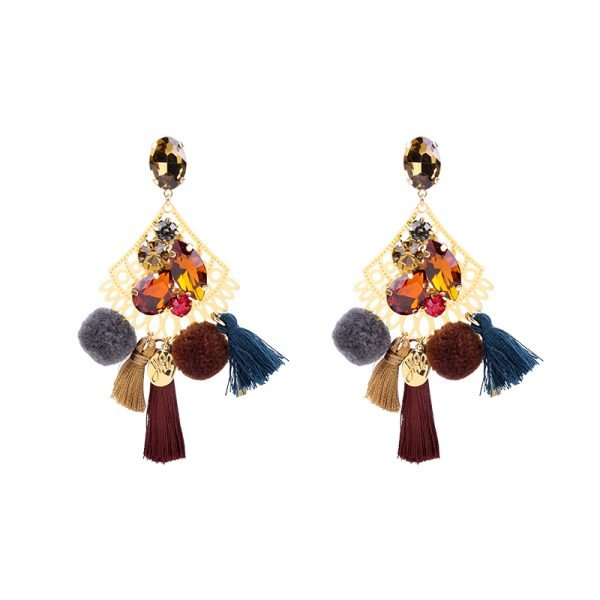 Statement Oorbellen PomPon Style goud gouden bruin gekleurde oorbel kwastjes bolletjes stenen dames musthave earrings