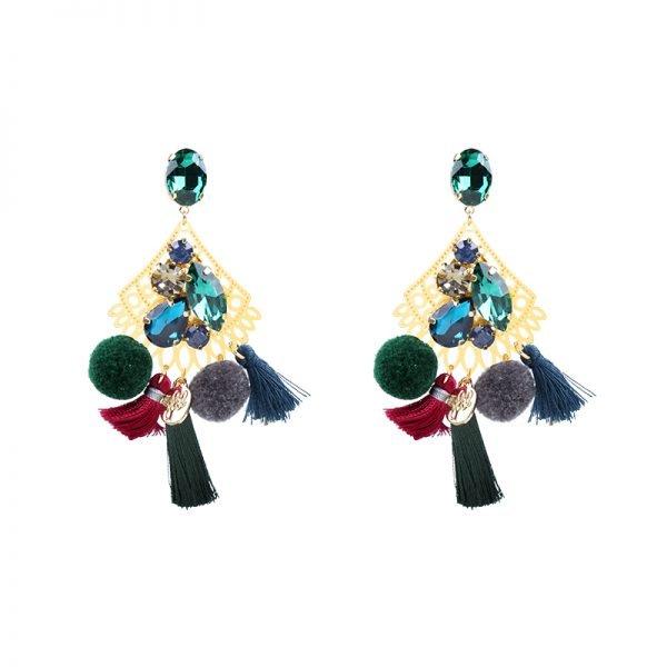 Statement Oorbellen PomPon Style goud gouden groen gekleurde oorbel kwastjes bolletjes stenen dames musthave earrings