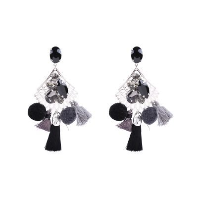 Statement Oorbellen PomPon Style zilver zilveren oorbel grijze kwastjes bolletjes stenen dames musthave earrings