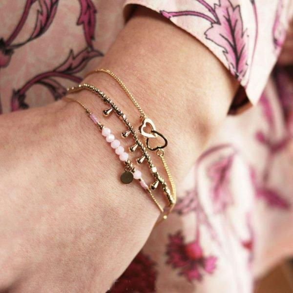 Armband Valentine Hearts goud gouden dames armbanden bracelet dubbele hartjes kopen bestellen