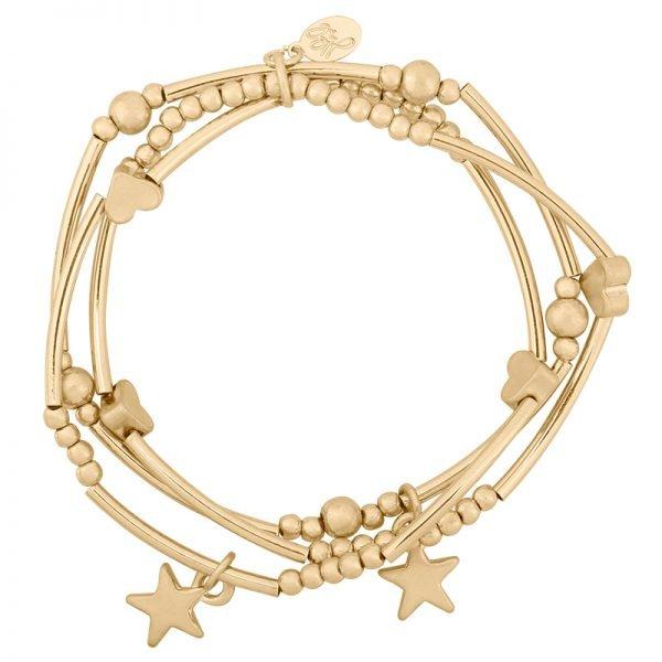 Armband love of stars goud gouden armbanden setje 3 armbanden kraaltjes dames musthave fashion bracelets arm candy