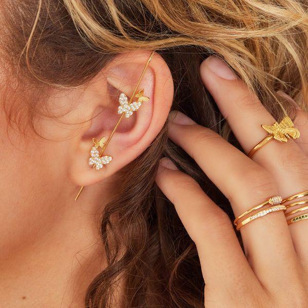 Ear Crawler Butterflies. goud gouden earcrawler oorbellen vlinders trendy dames sieraden bestellen kopen