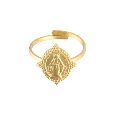 Gouden ring Holy Mary goud ringen verstelbaar dames sieraden bedel ringen kopen bestellen trends