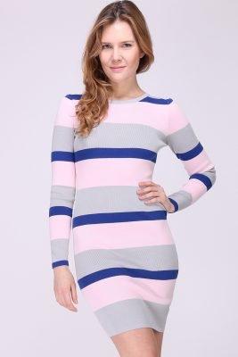 Jurk-Pink-Stripes-roze-blauwe-gestreepte-dames-jurk-jurken-stretc
