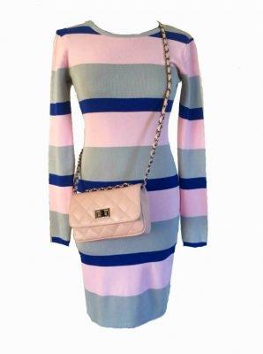 Jurk Pink Stripes roze blauwe gestreepte dames jurk jurken stretch sexy jurken lange mouwen winter herfst kleding bestellen