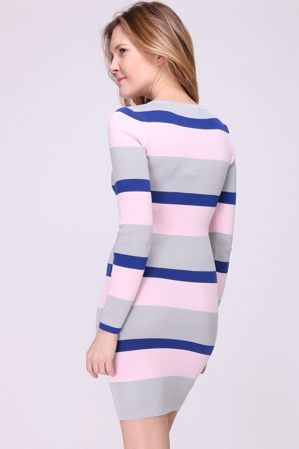 Jurk-Pink-Stripes-roze-blauwe-gestreepte-damesjurken-stretch dress