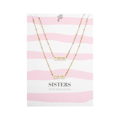 Ketting Set Sisters goud gouden kettingsset 2 kettingen met bedel sisters vriendschaps zussen kettingen sieraden kopen bestellen