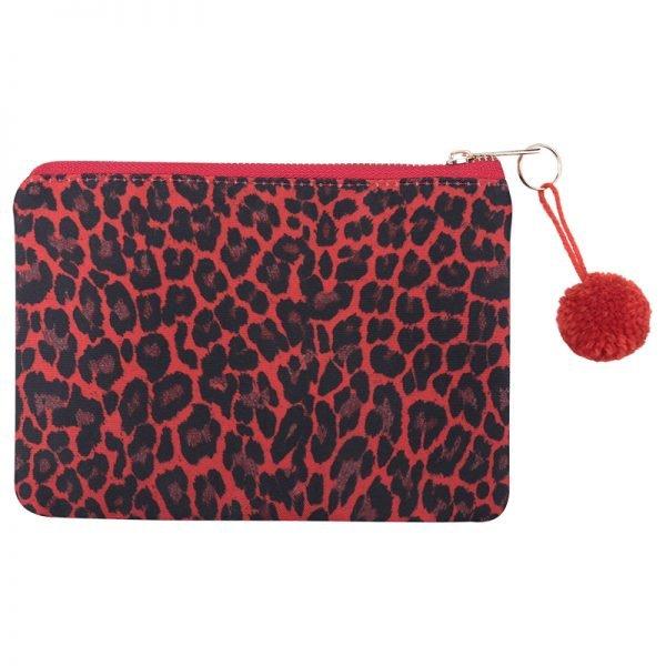 Make up Tasje Leopard Love rood rode kleine tasje wollen bolltjes kleine tasjes bestellen kopen