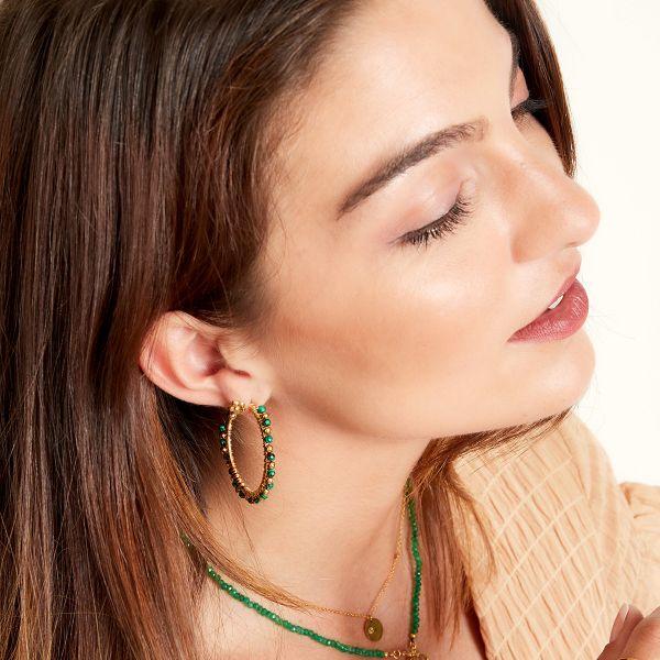 Oorbellen Beaded Hoops groen goud gouden oorbellen roze steentjes trendy fashion sieraden oorbel bestellen kopen