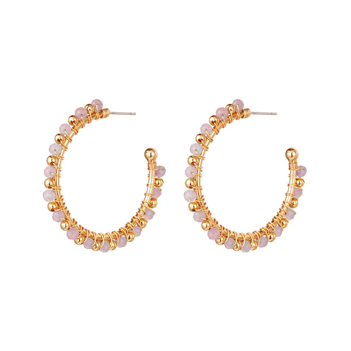 Oorbellen Beaded Hoops roze goud gouden oorbellen roze steentjes trendy fashion sieraden oorbel kopen