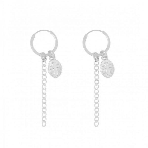 Oorbellen believe zilver zilveren lange oorbellen kruis bedel hippe fashion oorbellen online kopen bestellen