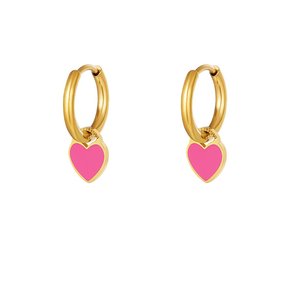 RVS Oorbel Colorful Heart gouden oorbellen met fuchsia hartje fashion sieraden kopen bestellen