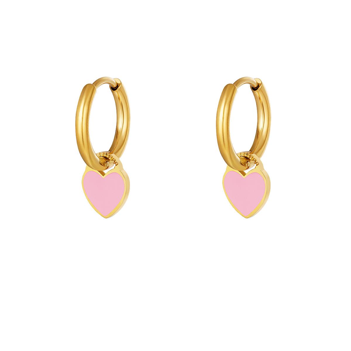 RVS Oorbel Colorful Heart roze gouden oorbellen met roze hartje fashion sieraden kopen bestellen