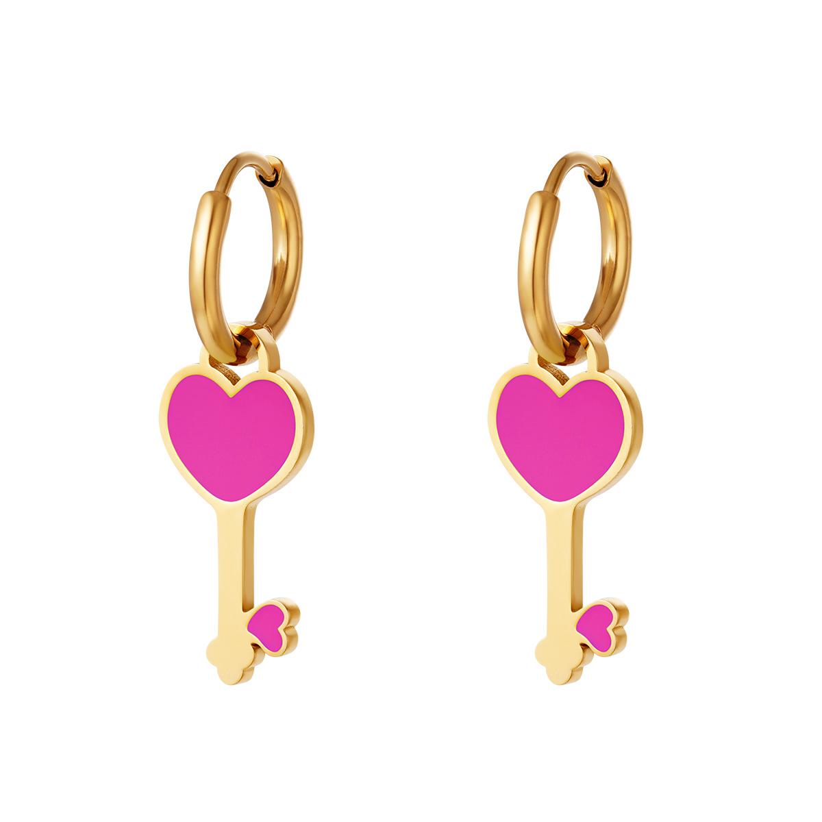 RVS Oorbel Colorful Heartkey gouden oorbellen met fuchsia hartje fashion sieraden kopen bestellen