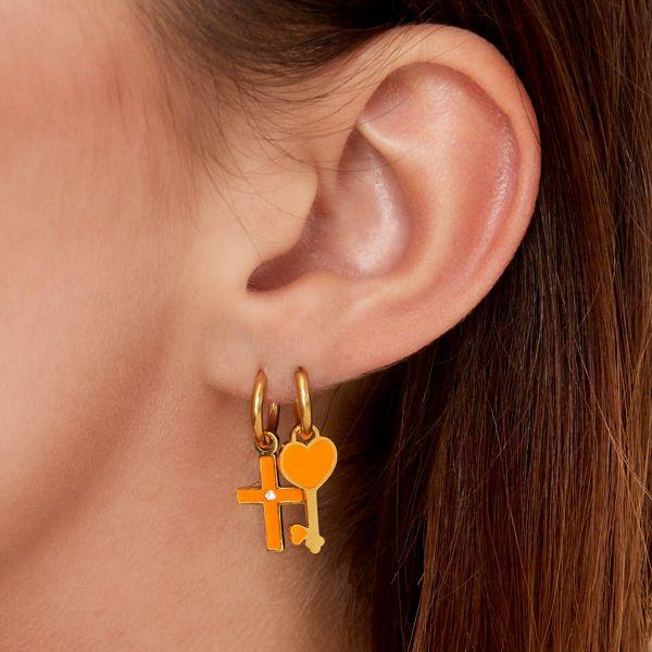 RVS Oorbel Colorful Heartkey gouden oorbellen met geel hartje fashion sieraden kopen bestellen