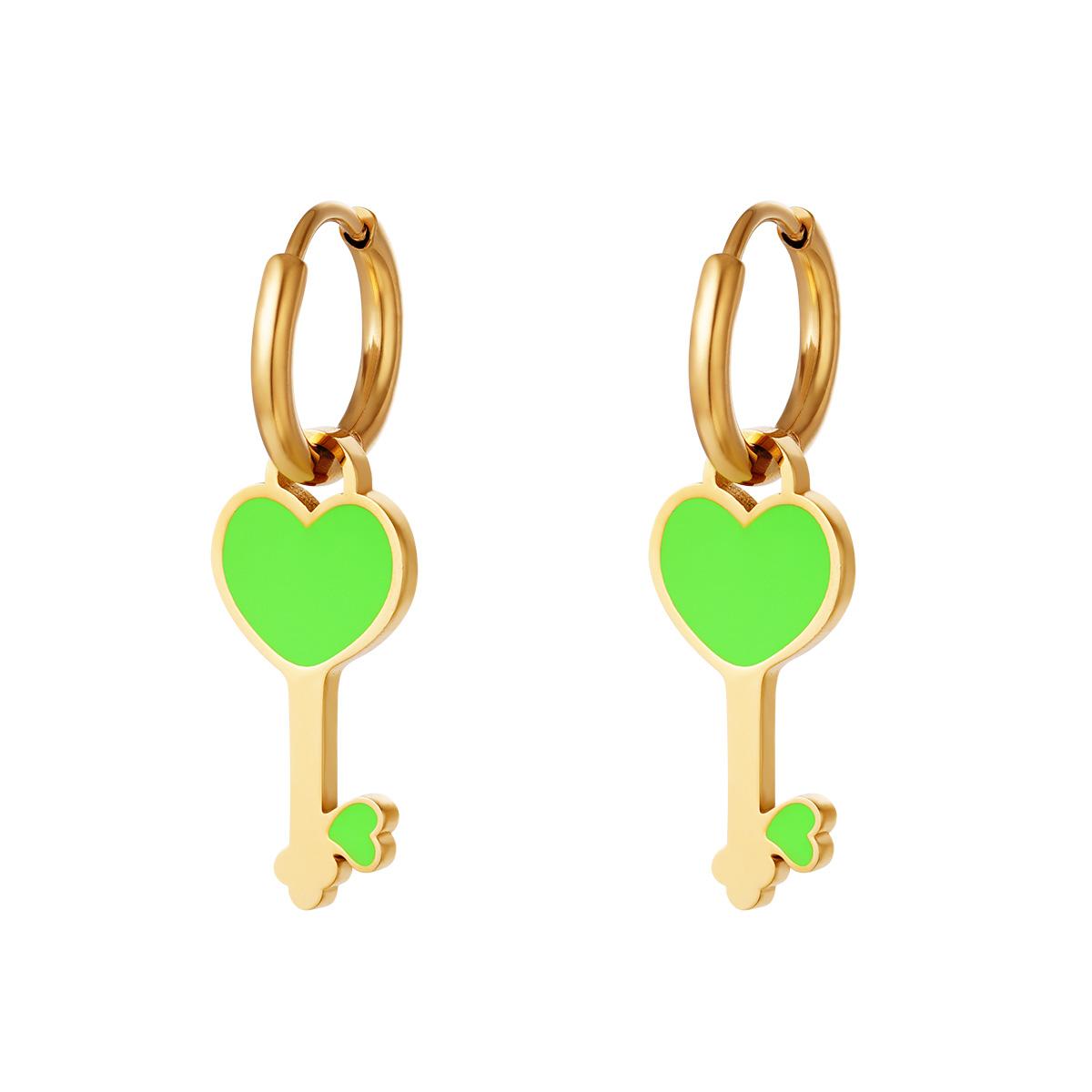 RVS Oorbel Colorful Heartkey gouden oorbellen met groen hartje fashion sieraden kopen bestellen
