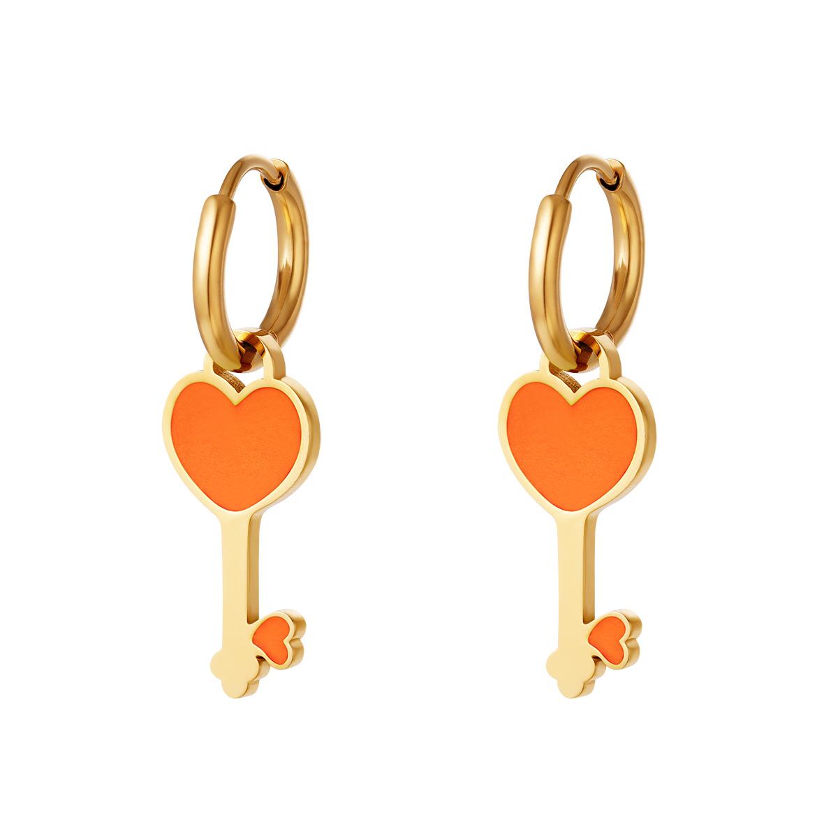 RVS Oorbel Colorful Heartkey gouden oorbellen met oranje hartje fashion sieraden kopen bestellen