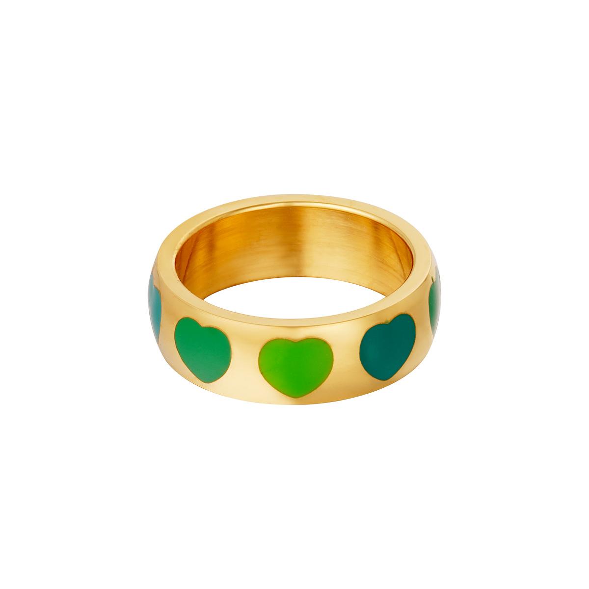 RVS Ring Colorful Hearts gouden ringen met groen blauw hartjes fashion sieraden bestellen kopen