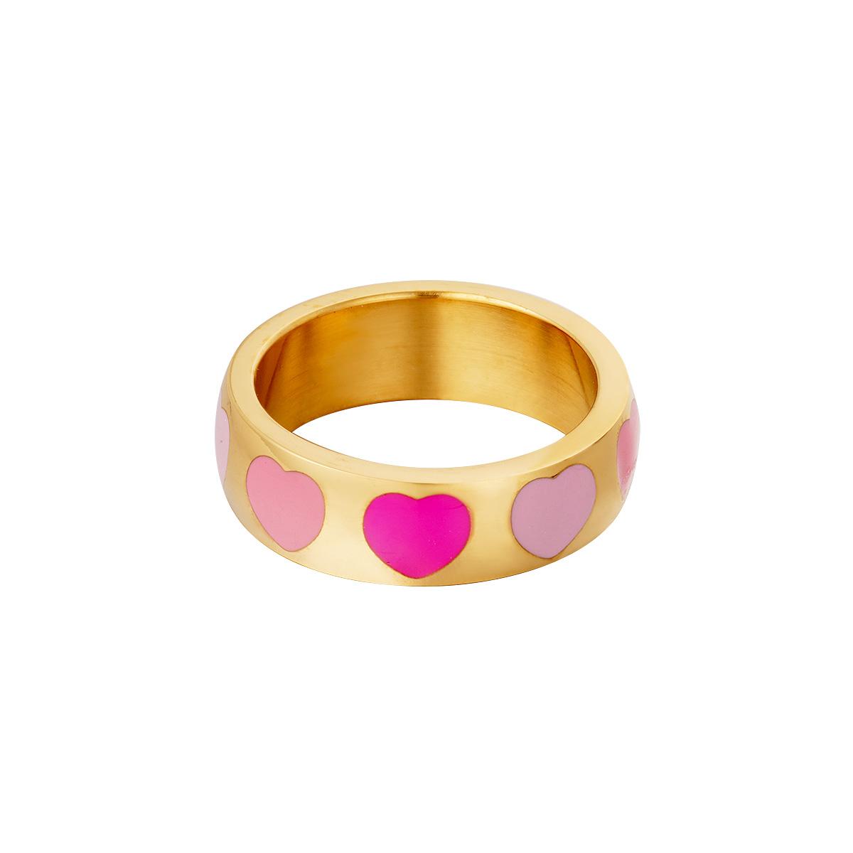 RVS Ring Colorful Hearts gouden ringen met roze fuchsia hartje fashion sieraden kopen bestellen