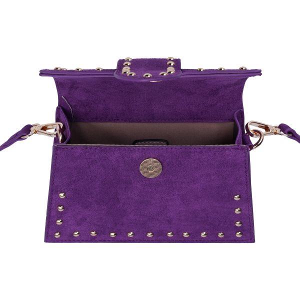 Schoudertas Pretty Studs paars paarse suede suedine tassen gouden studs kpen bestellen open