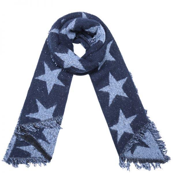 Sjaal Full Stardom lange blauw blauwe warme wollen sjaal sterren print winter accessoires dames kopen
