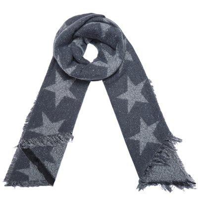Sjaal Full Stardom lange grijs grijze warme wollen sjaal witte sterren print winter accessoires dames kopenSjaal Full Stardom lange grijs grijze warme wollen sjaal witte sterren print winter accessoires dames kopen