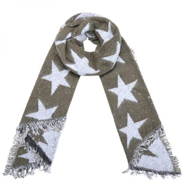 Sjaal Full Stardom lange groen groene warme wollen sjaal sterren print winter accessoires dames kopen