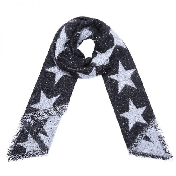 Sjaal Full Stardom lange zwart zwarte warme wollen sjaal sterren print winter accessoires dames kopen
