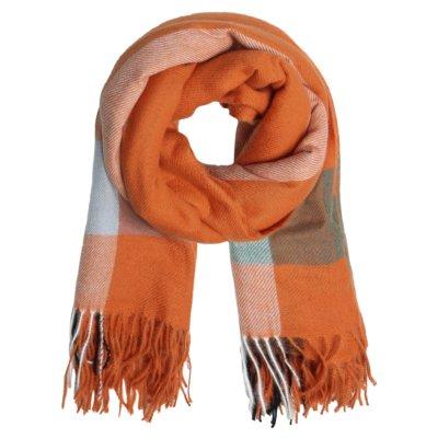 Sjaal Patterned oranje orange roze geblokte warme winter sjaals omslagdoeken winteraccessoires goedkoop kopen yehwang