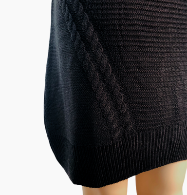 Sweater-Dress-Classy-zwart-zwarte-lange-gebreide-dames-jurken-sweater-jurken-musthave-fashion-kleding-bestellen-online detail