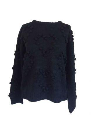 Zwarte Trui Hartjes zwart dames truien bolletjes winter trui sweater online kleding kopen bestellen fashion sweaters
