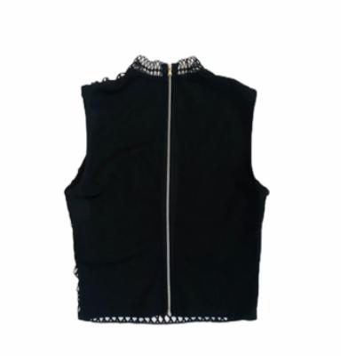 Zwarte-top-Rits-zwart-dames-topjes-truitje-gehaakt-kanten-trendy-dames-mode-online-bestellen fashion kleding kopen achter