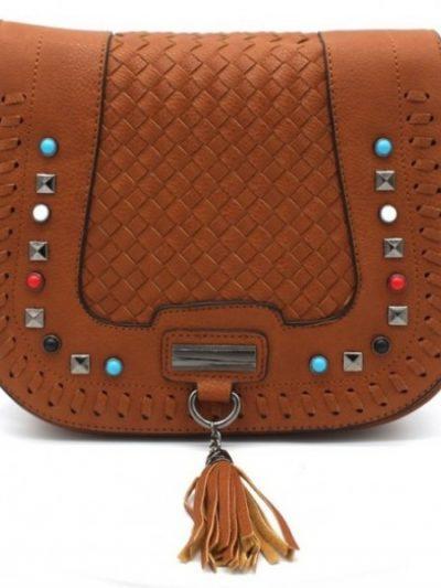 Boho Schoudertas Happy Studs bruin bruine cognac dames tassen bohemian gekleurde studs gevlochten details hippe fashion bags kopen bestellen