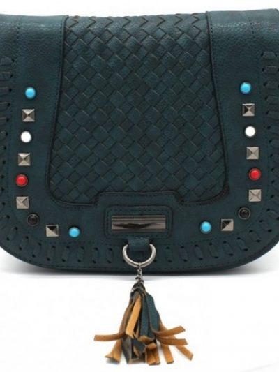 Boho Schoudertas Happy Studs groen groene dames tassen bohemian gekleurde studs gevlochten details hippe fashion bags kopen bestellen