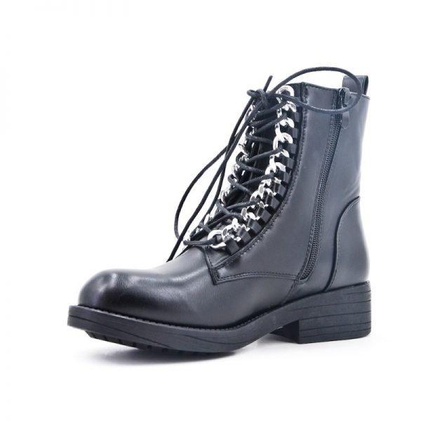 Boots Silver Chain zwart zwarte dames boots korte laarzen laarsjes dr martens festival winter enkellaarzen online goedkoop fashion schoenen bestellen