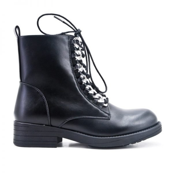 Boots Silver Chain zwart zwarte dames boots korte laarzen laarsjes dr martens festival winter enkellaarzen online goedkoop schoenen bestellen